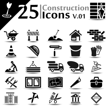 Construction icons set, basic series Vector