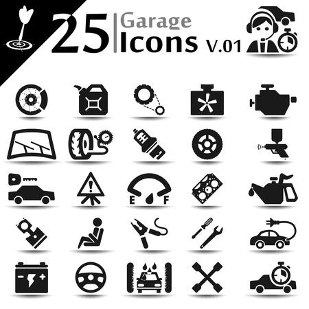 Garage icons set, basic series Vettoriali