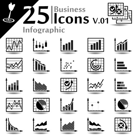 Business infographic icons set, basic series