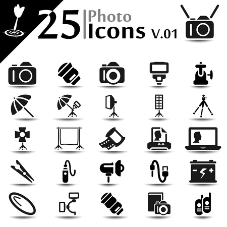 Fotografie icon set, basic series Stock Illustratie