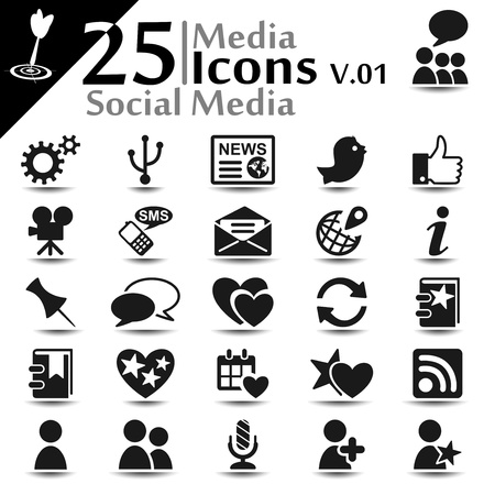 Social media icons set, basic series Stock Vector - 19120597
