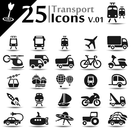 Transport icons set, basic series Vector