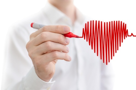 medical decisions: Heart beat chart sketched on a white board Stock Photo
