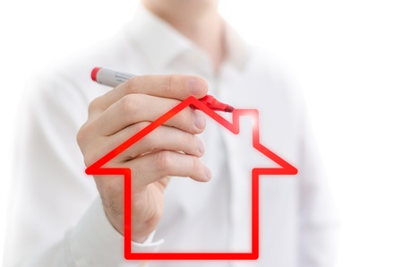 hypothetical: Red house sketched on a whiteboard Stock Photo