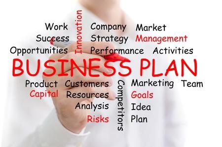 planeaci�n estrategica: Plan de negocios palabra nube esbozado en una pizarra