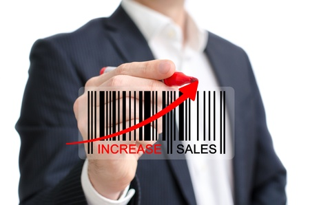 increase sales: Increase sales modern concept with barcode