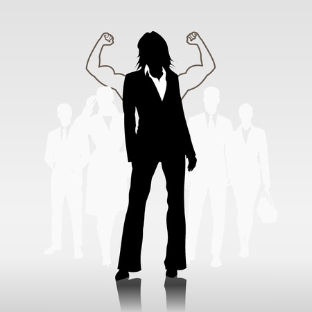 job satisfaction: Successful woman team leader in front of businesspeople