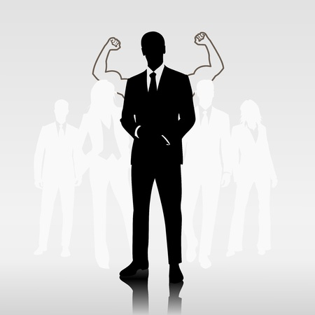 motivated: Successful man team leader in front of businesspeople
