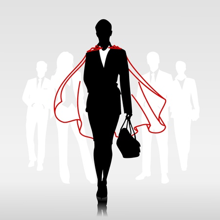 individuality: Businesswoman team hero with red cloak in front of her team