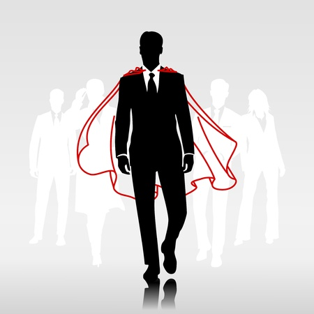 Businessman team hero with red cloak in front of his team Stock Vector - 19688199