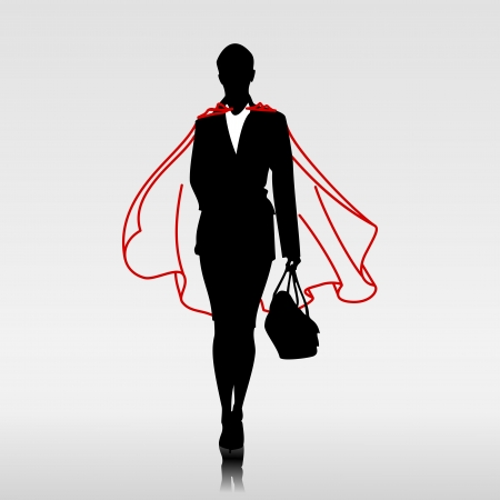super woman: Businesswoman hero with red cloak