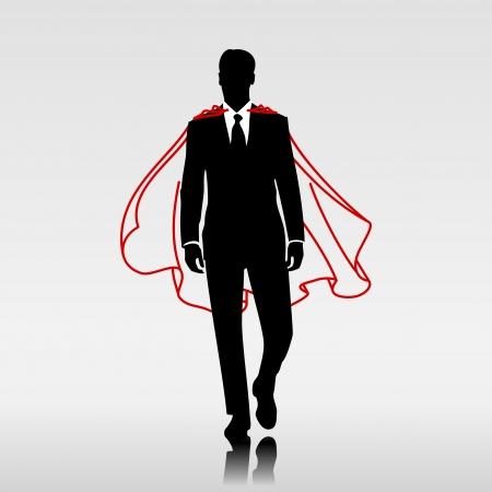 héros d'affaires avec manteau rouge