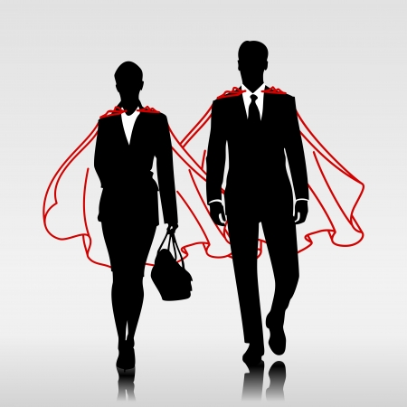 powerful creativity: Business heroes couple with red cloak Illustration