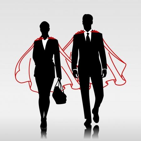 Negocios héroes pareja con capa roja Ilustración de vector