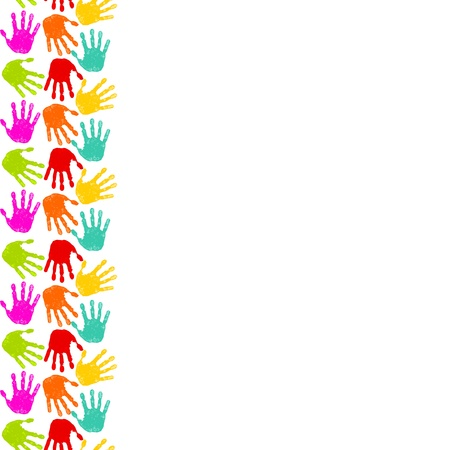 kids painted hands: Vertical seamless white background