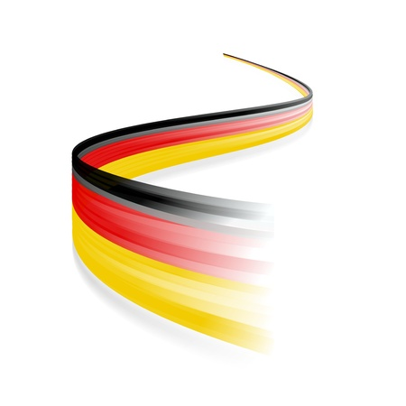 Abstract German waving flag isolated on white background Çizim