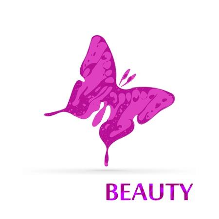 donna farfalla: Farfalla bellezza isolato su sfondo bianco Vettoriali
