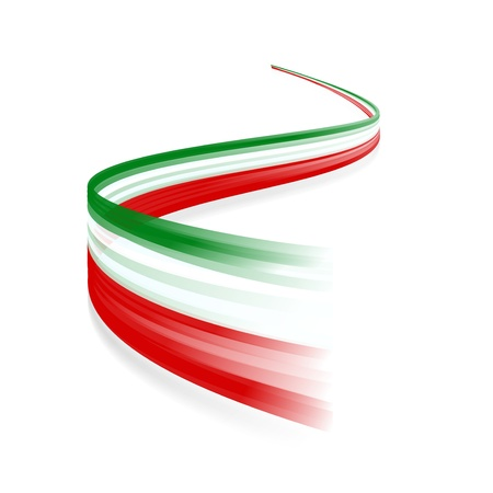 Abstract Italian waving flag isolated on white background Ilustração