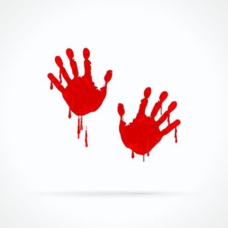 vieze handen: Bebloede handen abstract