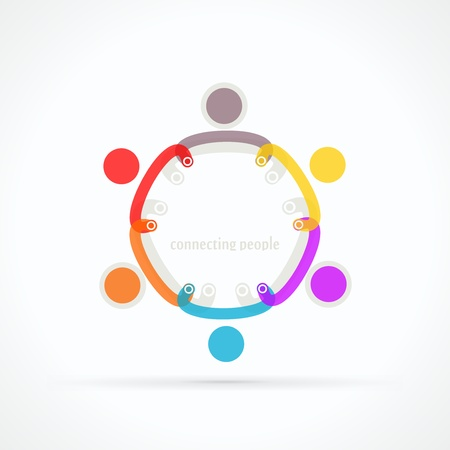 Connecting people abstract vector logo Vector