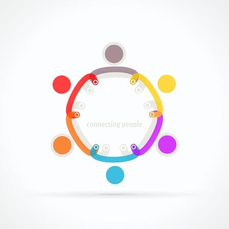 Verbinden van mensen abstract vector logo