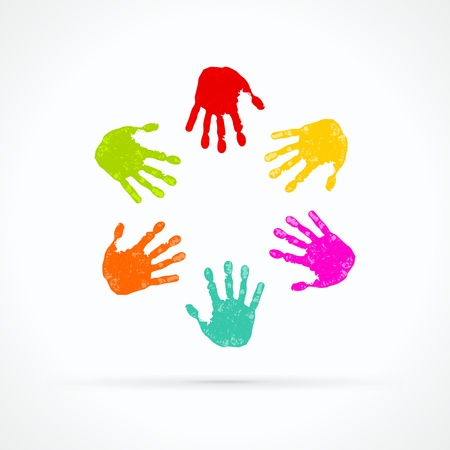 youths: Colorful hands abstract vector logo