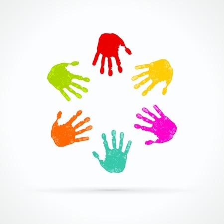 Kleurrijke handen abstracte vector logo Stock Illustratie