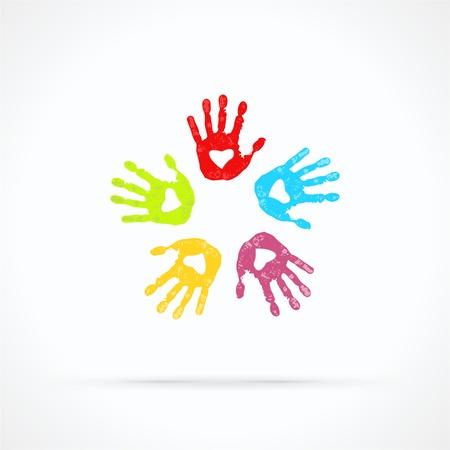 manos logo: Unidas las manos amorosas logo abstract vector