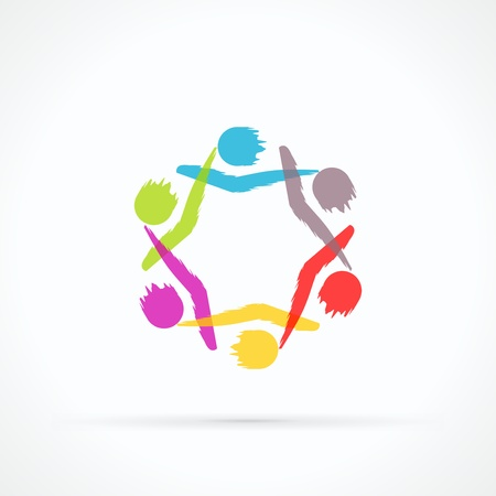 business partnership: Human circle abstract vector logo