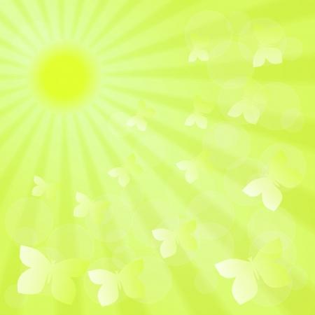 hayfield: Spring sunshine green background with butterflies