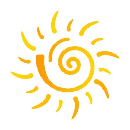 여름의 태양 로고는 흰색 배경에 고립 일러스트
