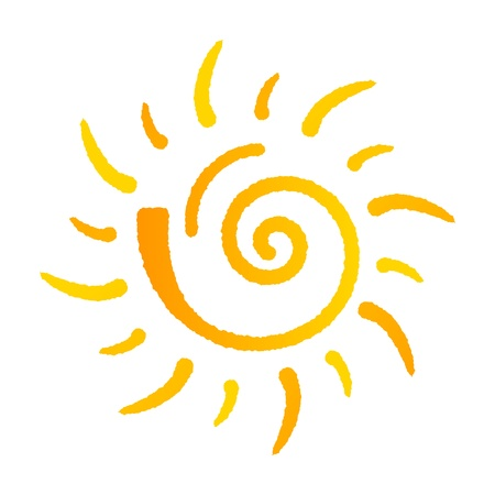 sonne: Sommer-Sonne-Logo auf weißem Hintergrund