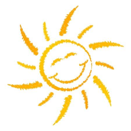 sorridente: Logotipo Sol de sorriso isolado no fundo branco Ilustração