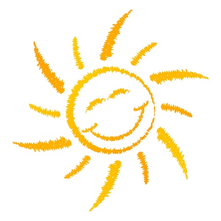 Smiling sun logo isolated on white background Vector