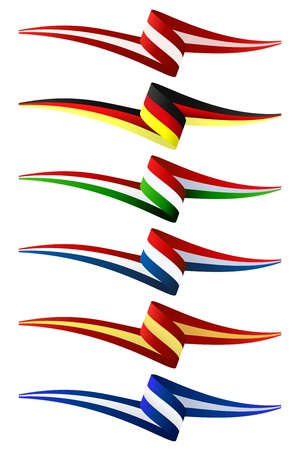 Collection of Europe flags illustration Vector