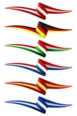 italian flag: Raccolta d'Europa bandiere illustrazione Vettoriali