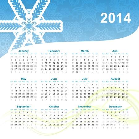 2014 年のカレンダーのイラスト