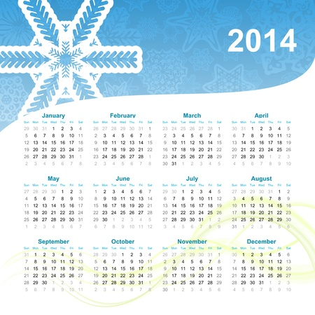 2014 new year calendar illustration Stock Vector - 21041710