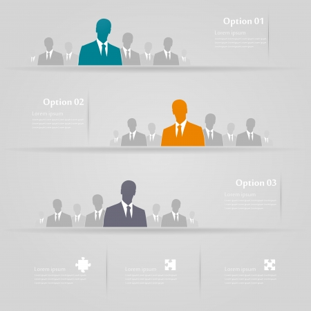 Three groups infographics illustration Illustration