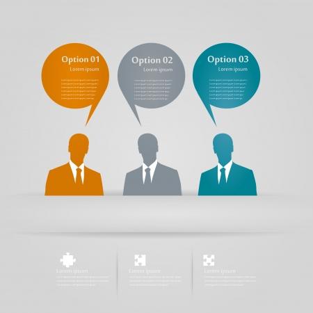 Drie meningen infographics illustratie