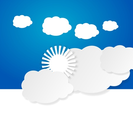 Sun over the clouds billboard vector illustration Vector