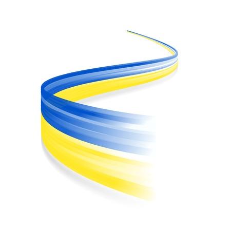 흰색 배경에 고립 된 추상 우크라이나어 깃발을 흔들며