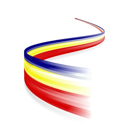 romanian: Abstract Romanian waving flag isolated on white background
