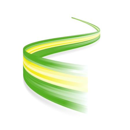 dynamic growth: Abstract Brazilian waving flag isolated on white background