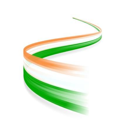 Abstract Irish waving flag isolated on white background