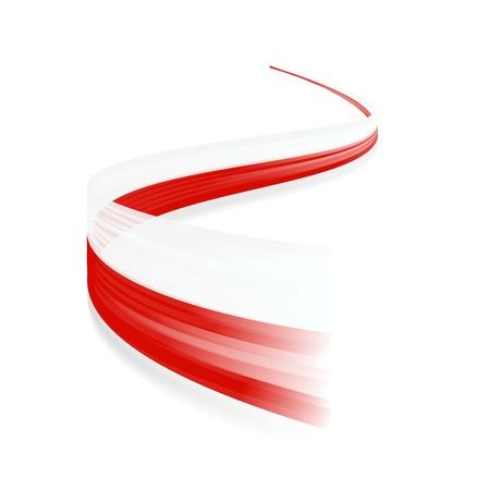 Abstract Polish waving flag isolated on white background Illustration