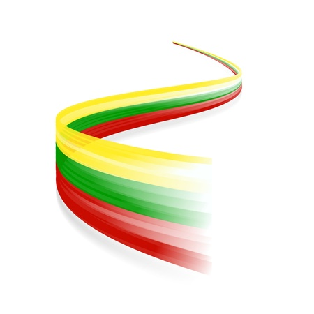 lithuanian: Abstract Lithuanian waving flag isolated on white background