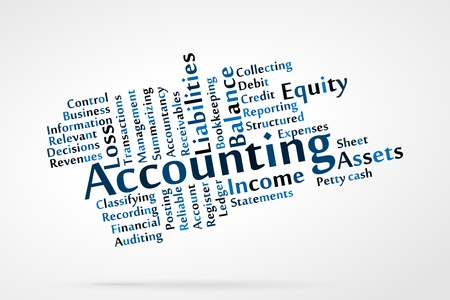Accounting word cloud with data sheet background Illustration