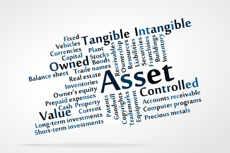 patents: Asset word cloud with data sheet background Illustration