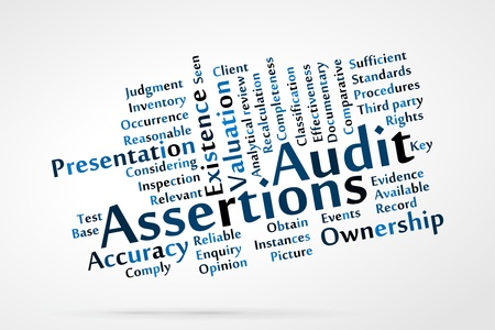considering: Audit Assertions word cloud with data sheet background Illustration